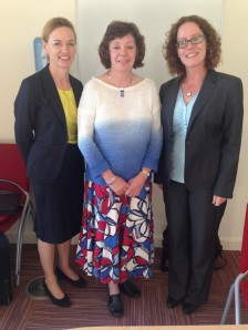Rosemary Mitchell-Schuitevoerder (centre) with examiners Professor Dorothy Kenny (Dublin City University), left, and Dr Maeve Olohan (Manchester University), right, after her viva on September 5th, 2014.