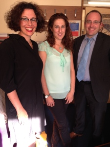 Gianpiera Conti (centre) with examiners Dr Billiani (left) and Dr Federici (right).